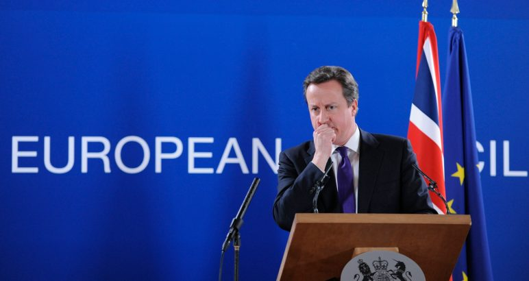 British Prime Minister David Cameron speaks at a press conference at the EU Headquarters on February 8, 2013 in Brussels, on the last day of a two-day European Union leaders summit. After 24 hours of talks lasting through the night, European Union leaders finally clinched a deal on the bloc's next 2014-2020 budget, summit chair  and EU president Herman Van Rompuy said Friday.  AFP PHOTO / JOHN THYS        (Photo credit should read JOHN THYS/AFP/Getty Images)